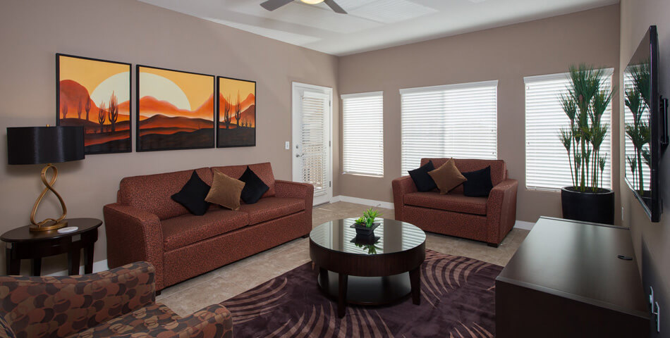 picture of two bedroom luxury condo in scottsdale living room at the Toscana of Desert Ridge