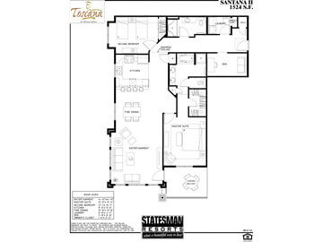 Floor plan picture of a two bedroom condo in Scottsdale called the Santana