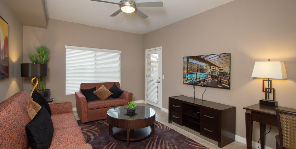 picture of a one bedroom luxury condo living room at the Toscana of Desert Ridge