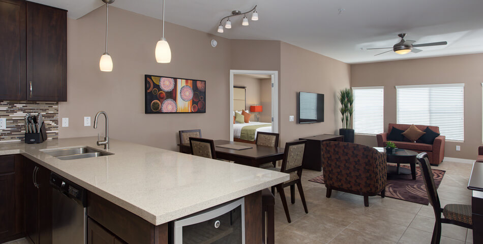 Picture of the dining and living room of the Venitia Condo